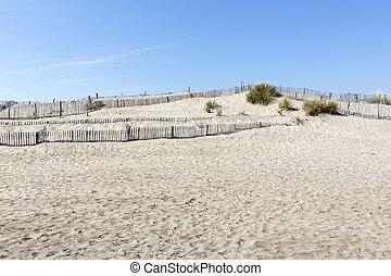 Dune landscape on L'espiguette beach in the Camargue district, Southern France