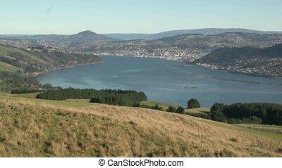 Dunedin City from Otago Peninsula - Dunedin, New Zealand,...