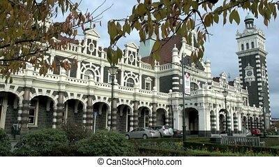 Dunedin Railway Station autumn leav - Dunedin, New Zealand,...