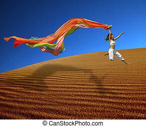 dunes, arc-en-ciel, sur, femme, sauter