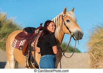 dunes, cheval, poser, girl