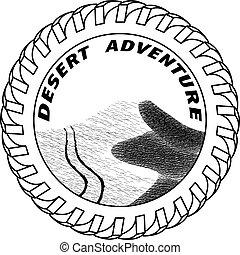dunes, illustration, suv, sable, vecteur, traces, désert