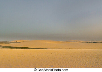Landscape of deserted scene at dunes in Jericoacoara, Brazil