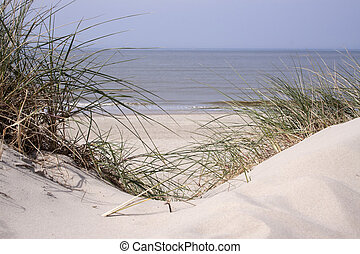 Dunes on the beach along the Frenche coast