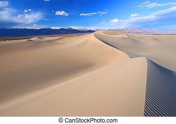 dunes, plat, sable, mesquite