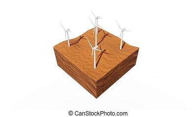 dunes, résumé, animation, turbine, désert, vent, 3d