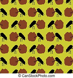 Dung beetle and dung ball pattern seamless. vector background