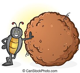 A proud, smiling and busy dung beetle with a big ball of poop