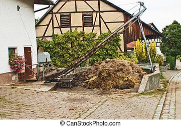 dung heap with crane