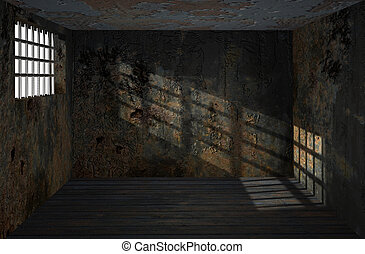 Dungeon. - Gloomy dungeon with dirty rusty wall and guarded ...