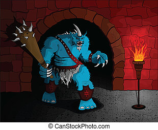 Dungeon Guardian - A giant troll equipped with a huge club ...