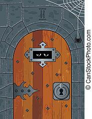 Dungeon - Door in an ancient or medieval dungeon. No...