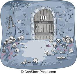 Dungeon Skulls Interior - Illustration of the Interior of a...