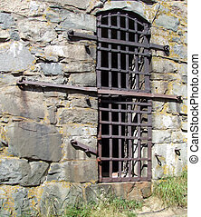 a view of a dungeon window from the outside of the Elfsborg fortress at Gothenburg in Sweden