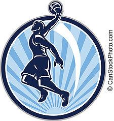 dunk, jogador, basquetebol, retro, bola