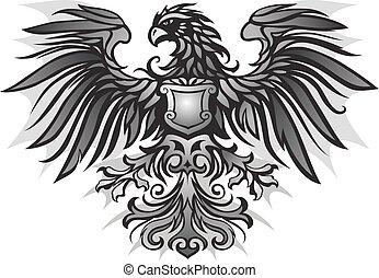 dunkel, adler, emblem, hintergrund