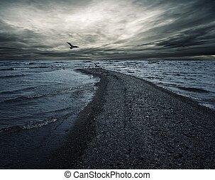 dunkel, aus, himmelsgewölbe, sea., stürmisch