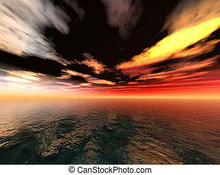 dunkel, horizont
