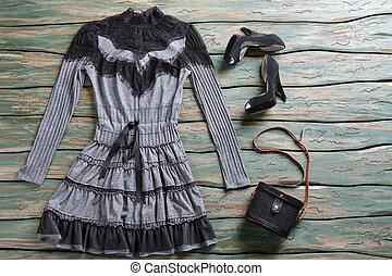 dunkel, kleiden, und, absatz, shoes.