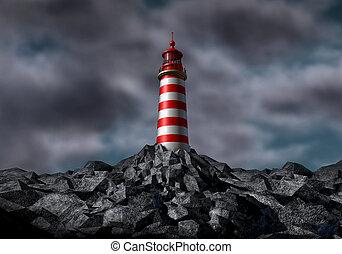 dunkel, leuchturm, wolkenhimmel, sturm