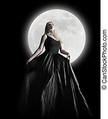 dunkel, nacht, mond, m�dchen, mit, schwarzes kleid