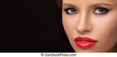 dunkel, porträt, nahaufnahme, modell, hintergrund