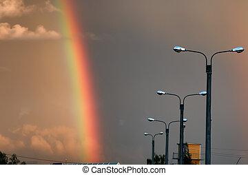 dunkel, regenbogen, Sonnenuntergang, Wolke, Licht