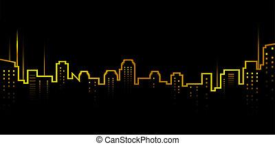 dunkel, skyline, stadt, hintergrund
