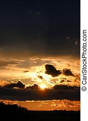 dunkel, Sonnenuntergang, Wolke