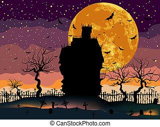 dunkel, unheimlicher , halloween, house.