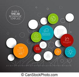 dunkel, vektor, abstrakt, kreise, infographic, schablone