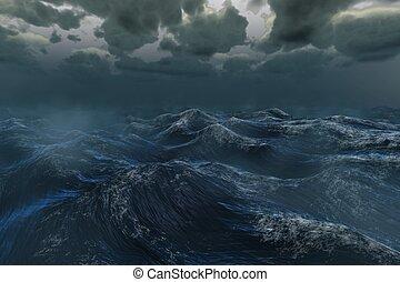 dunkel, wasserlandschaft, stürmisch, rauh, unter, ...