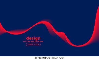 dunkel, welle, blaues, design, roter hintergrund