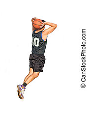 dunking on white background