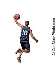 dunking on white - basketball player dunking on white...