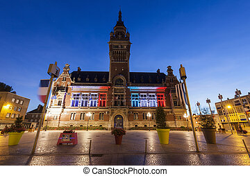 Dunkirk City Hall at night. Dunkirk, Hauts-de-France, France.