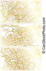 Dunkirk, Dijon and Clermont Ferrand France City Map Set in Retro Style in Golden Color. Outline Map.