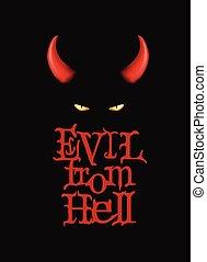 dunkle augen, plakat, devi, dämon, übel, t-shirt, hintergrund., hörner, hell., design, rotes , art.