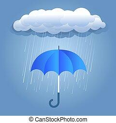dunkle wolken, schirm, regen