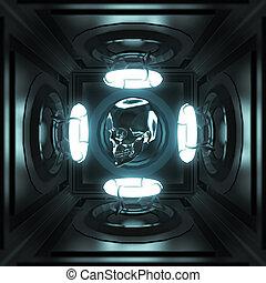 dunkles zimmer, render, licht, neon, metall, vier, glühen, ringe, musik, totenschädel, plakat, party, techo, template., glänzend