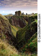 Dunnottar Castle on the cliff in Aberdeen, Scotland.