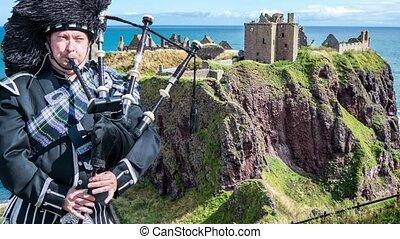 dunnottar castle, ruinen, -, stonehaven, -, schottland, -, parallaxe, filmmeter