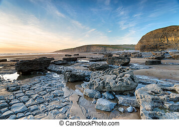 Dunraven Bay in Wales - The beach at Dunraven Bay on the...