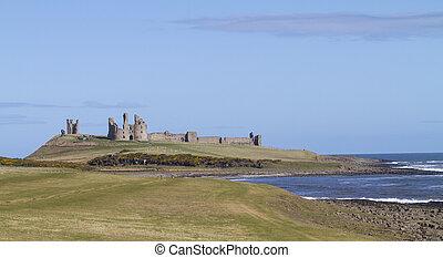 Dunstanburgh Castle, Northumbria, UK - View of Dunstanburgh...