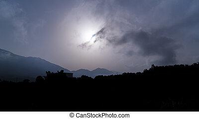 dunstig, griechischer , landschaftsbild, morgen