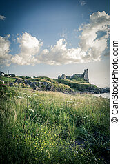 Dunure Castle in South Ayrshire, Scotland, United Kingdom.