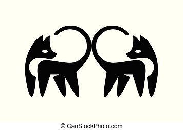 duo, gato, logotipo, vetorial, ícone