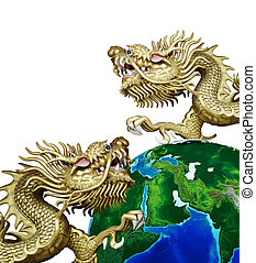 Duo Golden Chinese Dragon with global