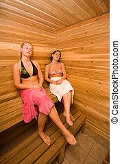 two women relaxing in the wood sauna
