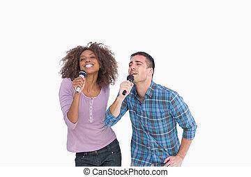 duo, singende, spaß, karaoke
